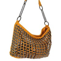 Trendy Studded Purse Fashion Slouch Bag Taupe