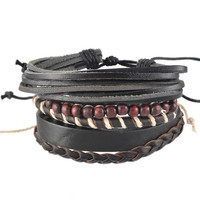 Adjustable Leather Punk Bracelet (Black)