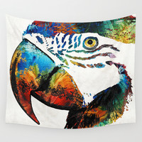 Parrot Head Art By Sharon Cummings Wall Tapestry by Sharon Cummings