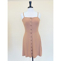 Taupe Button Front Knit Dress