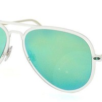 RAY BAN Aviator RB4211 646/3R TRANS GREEN MIRROR LIGHT RAY II SUNGLASSES