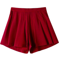 Solid Color Pleated with Twin Rear Pocket Shorts