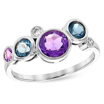 Ben Garelick Mulit-Color Amethyst, Blue Topaz & Diamond Ring