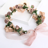 wedding romantic bohemian  fabric flower hanfmade hairband bride high quality   bridal vintage hair accessories