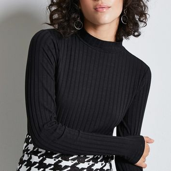 Ribbed Knit Mock Neck Top