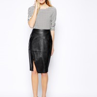 Oasis Leather Look Wrap Pencil Skirt