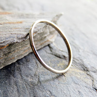 Simple Thin Traditional Gold Wedding or Promise Ring in Solid 14k White Gold: 1.5mm Half Round Ring
