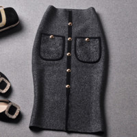 Autumn and winter new bag buttoned hip Slim skirt