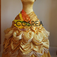 Disney Beauty And The Beast Princess Belle Multilayer Dress With Free Shipping Worldwide