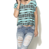 Tribal Pointelle Knit Tee | Shop Tops at Wet Seal