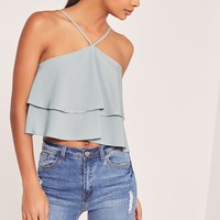Missguided - Double Frill 90's Neck Crop Top Grey