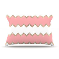 "Monika Strigel ""Avalon Coral Chevron"" White Blush Pillow Case"