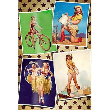 4 CLASSIC 50'S PIN-UP GIRLS POSTER sexy western RARE HOT bicycle 24x36