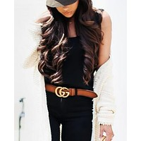Gucci Tide brand women's retro fashion wild belt Brown