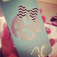 2 inch Bow Monogram Decal for Cell Phone - Custom Sticker Fits Iphone, Android, Galaxy - Cute Girly Accessory