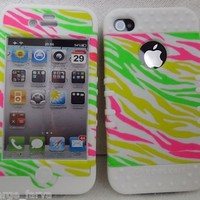 Green Yellow Pink White Zebra iPhone 4 4S Case ishield Hybrid Snap On Protector:Amazon:Everything Else
