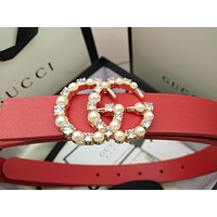 Gucci Double G letter diamond pearl ladies small belt