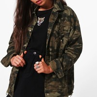 Juliana Studded Fray Hem Camo Denim Jacket | Boohoo