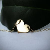 Gold Heart Choker -OR- Choose Length - Oval Chain - Gold Necklace - Engravable - Layer Necklace - Simple - Solitaire - Dainty - Gold Choker