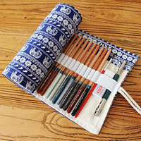 GUchina Canvas Pencil Case,Canvas Pencil Wrap,Colored Pencils Case,Multi-purpose Pouch for School Office Art,Original design-hold 48(72) (72-Piece, Elephant)