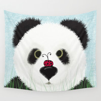 The Panda Bear & His Visitor Wall Tapestry by One Artsy Momma