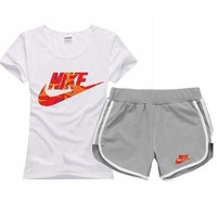 One-nice™ NIKE Women Men Fashion Cotton Sport Shirt Shorts Set Two-Piece Sportswear