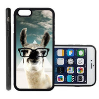 RCGrafix Brand Hipster Llama Geek Glass Apple Iphone 6 Plus Protective Cell Phone Case Cover - Fits Apple Iphone 6 Plus