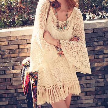 Hollow Batwing Sleeve Dress with Tassles