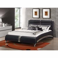 Modern Upholstered Queen Size Bed, Black