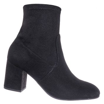 Tonic Stretch Sock Ankle Bootie - Womens Chunky Block High Heel Dress Boots