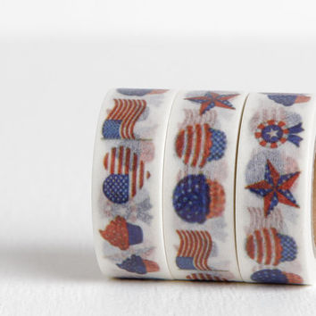 Fourth of July Washi, Patriotic County Fair Washi with Stars and Stripes, American Flag, Cupcakes, Ice Cream Cones, Hearts