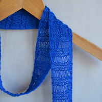 Cobalt Skinny Scarf, Stylish Cotton Scarf, Fringe scarf, Knit Jewerly, Vegan Scarf, Loose Knit Scarf, Spring Roayal Blue Scarf Gift for Her