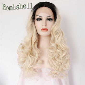 Bomshell Long Body Wave 180% Density 22-26 Inch Black Roots Ombre White Blonde Synthetic Lace Front Wig Heat Resistant For Women