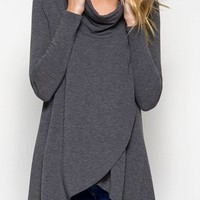 Cowl Neck Overlapping Wrap Sweater