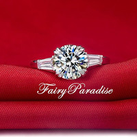 Classic 3 stones engagement ring 2 Ct Round Brilliant With Tapered Baguettes Lab Made Diamond Engagement Ring, Wedding Rings