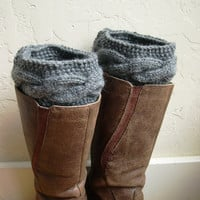 Gray Boot cuffs - Gray Legwarmers - Gray boot toppers  - Winter Fashion 2013 - Knit boot tops - Machine Washable - Gray boot socks