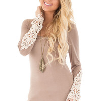Taupe Top with Lace Detail Sleeves