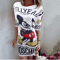 MOSCHINO Trending Women Sexy Stylish Mickey Mouse Pattern Mini Dress
