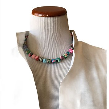 Polymer beads boho necklace