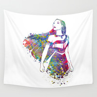 Princess Pocahontas Wall Tapestry by Bitter Moon