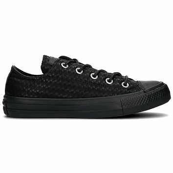 Converse All Star Craft Leather Ox Triple Black 153565C Womens Size 6