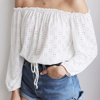 Eyelet Shoulder Top
