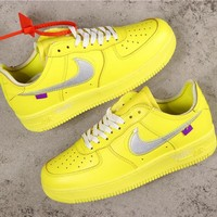 OFF White x Nike Air Force 1 AF1 Low Yellow With Silver Logo Sneakers - Best Online Sale