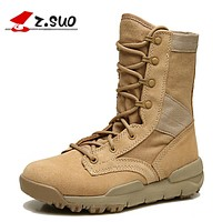 Women Tactical Boots Cow Leather Breathable Outdoor Mid-Calf Female Soldiers Boots Lace-up Safety Shoes Black