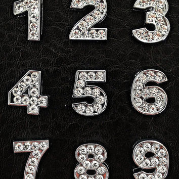 Rhinestone Number Charm fits 8 mm wristband of stainless steel or leather bracelet for jewelry and crafting