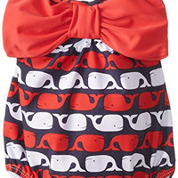 Mud Pie Baby Girls' Whale Swimsuit, Blue, 12 18 Months