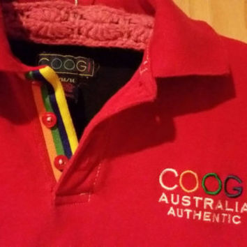 Vintage 90s Red Coogi Short Sleeve Polo Style Shirt Mens Size M