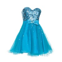 VILAVI A-line Sweetheart Strapless Short Tulle Bowknot Sequin Homecoming Dresses