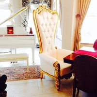 Fabulous and Baroque — Absolom Roche Chair - Gold & Cream Silk - Client Photo