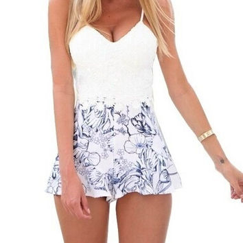 Feelingirl Hot Sale Lace Rompers Womens Jumpsuit 2015 New Summer Sexy Feminino Vestidos Female Overalls Playsuits Clothing Floral Print = 1696959556